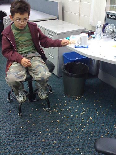 Adam explodes his Cheerios