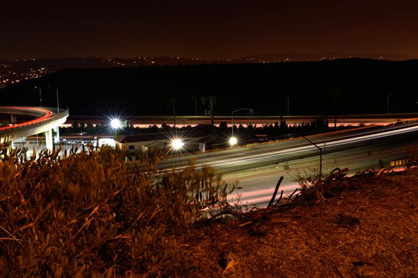 Another long-exposure snapshot that I took of the 57 and 60 freeways near the city of Diamond Bar in California...on June 30, 2017.