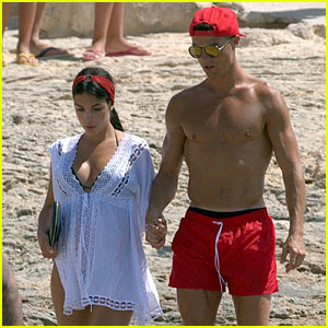 Cristiano Ronaldo Shows Off Hot Shirtless Body on Beach with Possibly Pregnant Girlfriend Georgina Rodriguez
