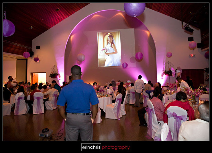 Wedding slideshow played at the reception