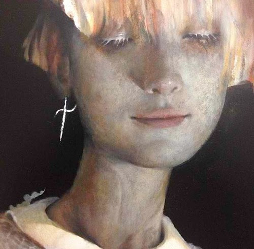 Close up view of Esao Andrews new oil painting in progress for Thinkspace's booth with SCOPE Miami Beach this December by thinkspace_gallery