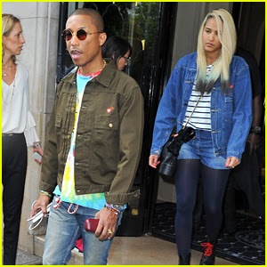 Pharrell Williams & Wife Helen Lasichanh Step Out During Paris Fashion Week