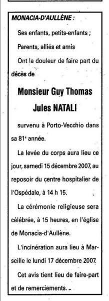 Décès Guy Natali