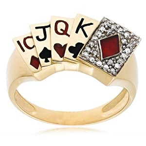 Men's 10k Yellow Gold Diamond Poker Rings