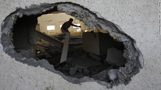 Palestinian youths inspect a destroyed mosque in northern Gaza on Friday.