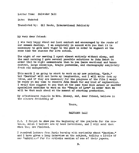 Walt Disney, Salvador Dali & 'Destino' (6 Translation)