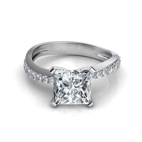 Tapered Pave Princess Cut Engagement Ring