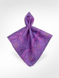 Ken Scott Paisley Printed Silk Pocket Square