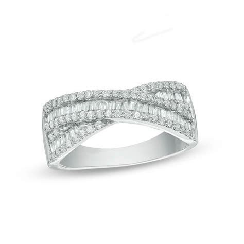 3/4 CT. T.W. Baguette and Round Diamond Crossover Band in