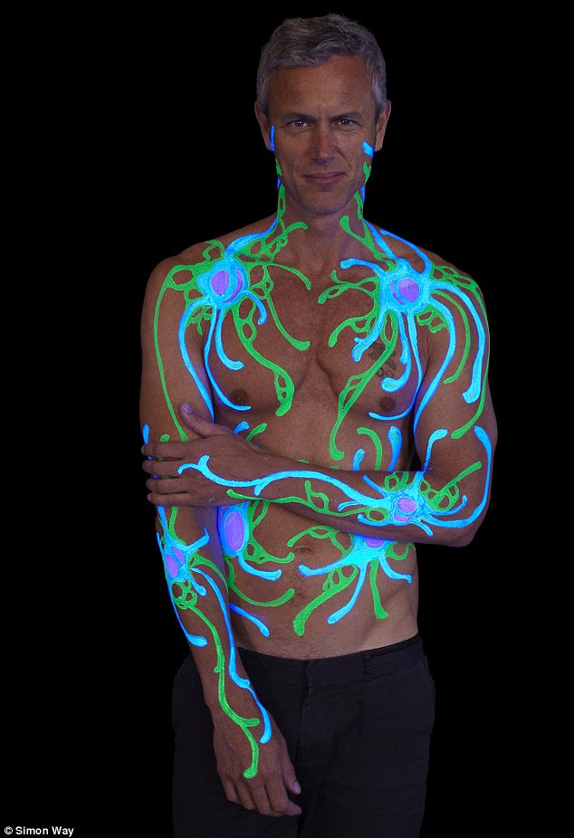 Shining bright: Swimmer Mark Foster is splashed with designed that were inspired by microscopic cancer cells