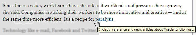 Screen shot showing tooltip connected to the word 'paralysis,' which in this context was metaphorical
