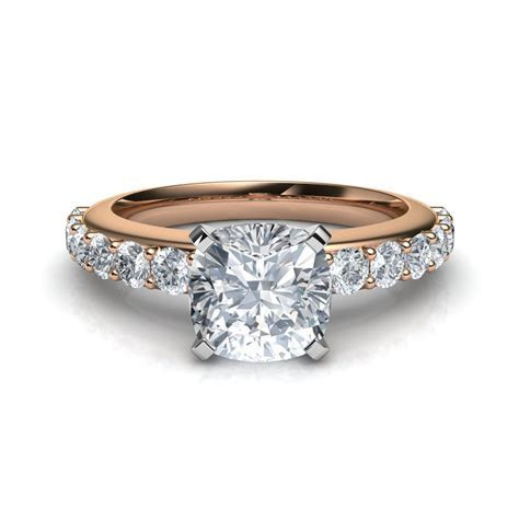 Shared Prong Vintage Style Cushion Cut Engagement Ring
