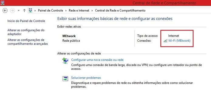 Central de Rede e Compartilhamento no Windows 8 (Foto: Reprodução/Marcela Vaz) (Foto: Central de Rede e Compartilhamento no Windows 8 (Foto: Reprodução/Marcela Vaz))