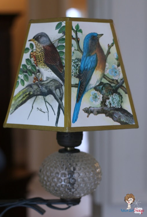 Atta Girl Says Wrought Iron Glass Lamp with Hobnail Globe and Bird Shade
