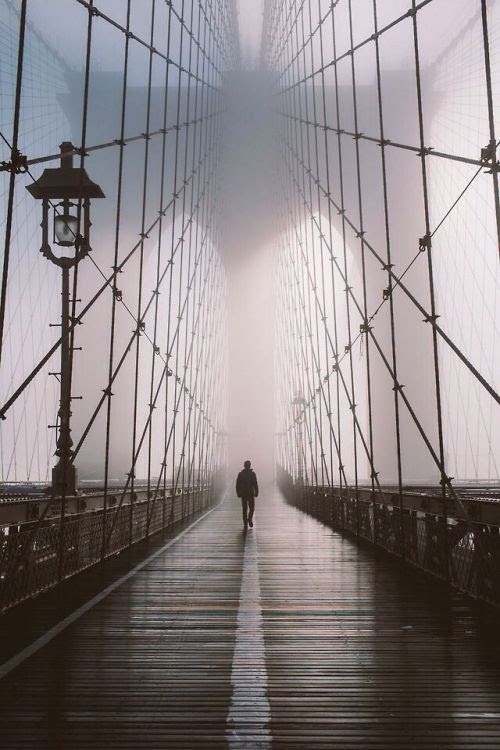 garakami:  Brooklyn Bridge by Gabriel Flores  We walk alone. At times we ask for help. But no one can understand our grief. No one can carry our problems for us. We must learn to stand on our own feet. No one can do this for us. It is a lonely journey, but we must do it by ourselves.