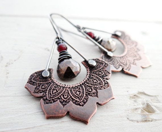 Etched Lotus and Stone Earrings // copper flowers with pyrite and garnet stone beads // rustic mixed metal bohemian jewelry (2442)