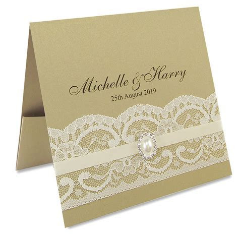 Vintage Lace Flat Front Pocketfold Wedding Invitation