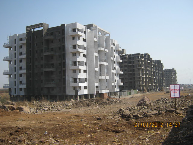 Under construction first phase of Aura County, Signature Series 1 BHK 2 BHK Flats at Ubale-Nagar, next to Kharadi Jakat Naka, on Nagar Road, Pune 412 207