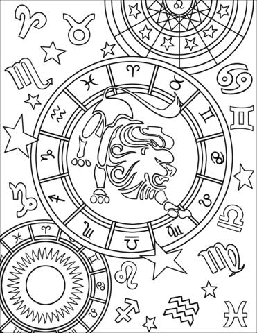 Dibujo De Signo Del Zodiaco Leo Para Colorear Dibujos Para