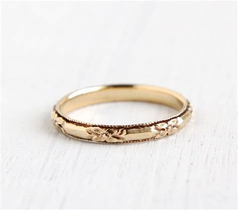 Antique 14k Yellow Gold Wedding Band Ring Art by