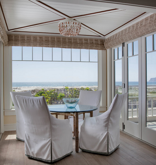 Lined Bamboo Shades. Coastal dining room with Lined Bamboo Shades. Neutral Lined Bamboo Shades. Natural Lined Bamboo Shades. #Lined #BambooShades #RomanShades Kim Grant Design Inc.
