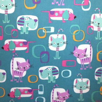 Easy Wash & Care Fabric- Retro Cat Teal, Pink & Purple