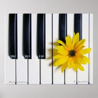 Piano Flower Print