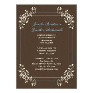 Vintage Brown Ivory Blue Swirls Post Wedding