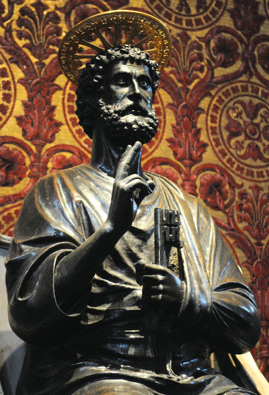 Saint Peter on the throne and holding the keys