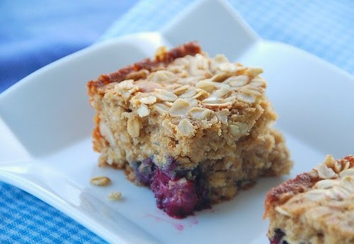 a piece of blackberry oatmeal cake