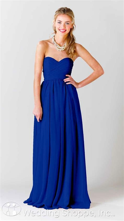 Beautiful long chiffon bridesmaid dress in royal.   Member