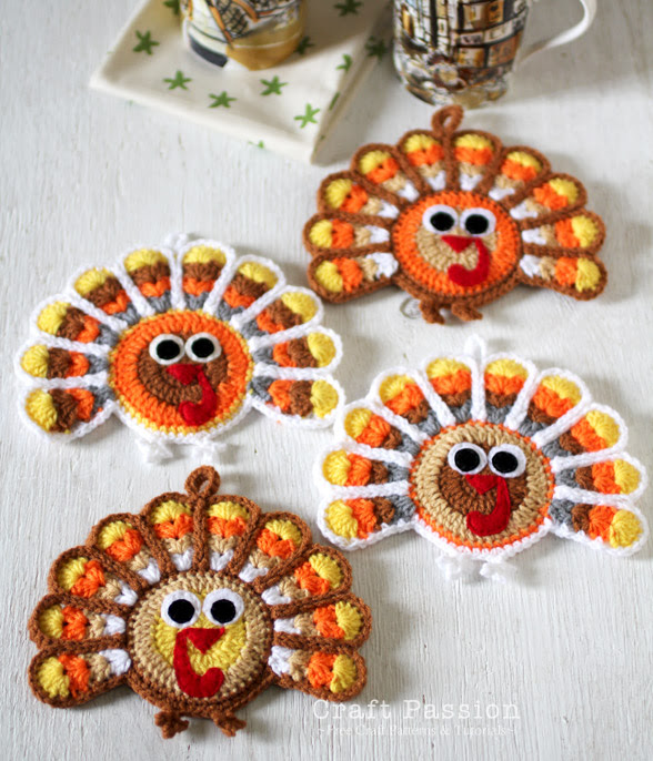 Crochet Turkey Coasters For Thanksgiving