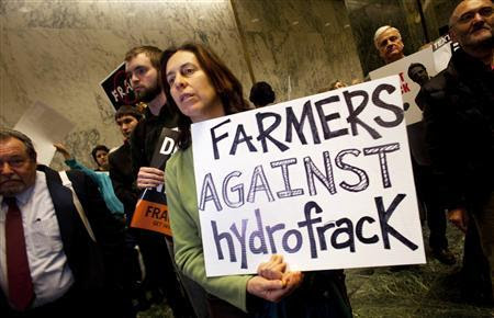 Anti-fracking protestors demonstrate at the state legislature in Albany, New York in this January 24, 2012 file photo. REUTERS-Les Stone-Files
