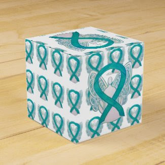 Teal Awareness Ribbon Angel Party Favor Boxes