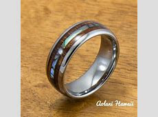 Tungsten Wedding Band Set with Mother of Pearl Abalone and Koa Wood In ? Aolani Hawaii