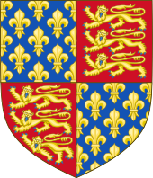 Coat of arms with three lions, gold on red, in two quarter, fleurs de lys, gold on blue, in two.