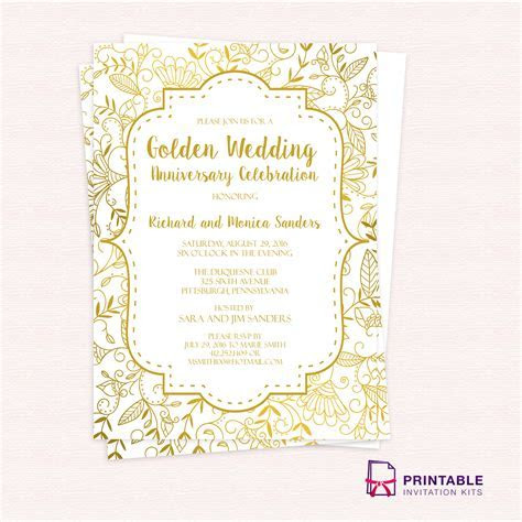 Golden wedding anniversary invitation template   50th