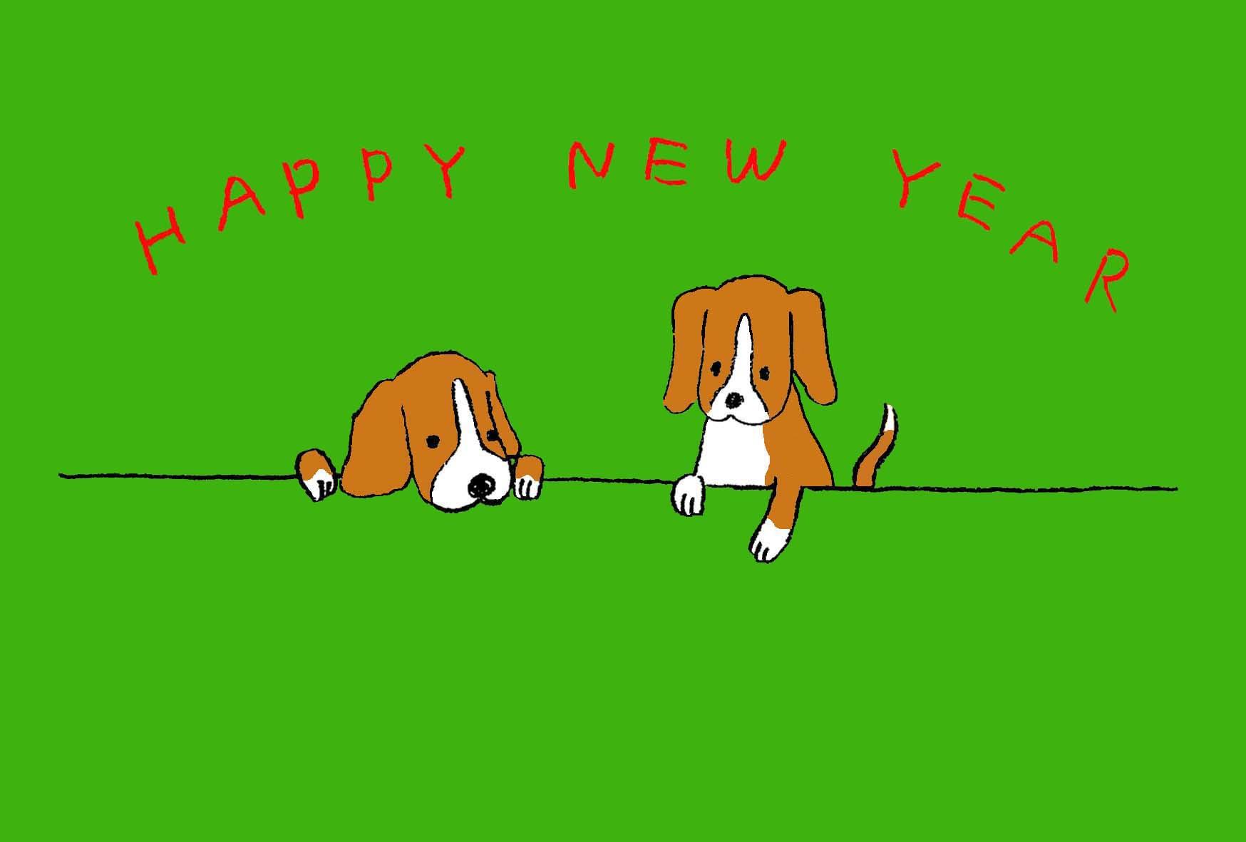 無料戌年年賀状可愛いビーグル犬のイラスト