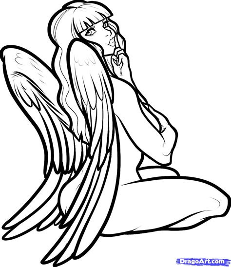 draw  angel girl angel girl step  step