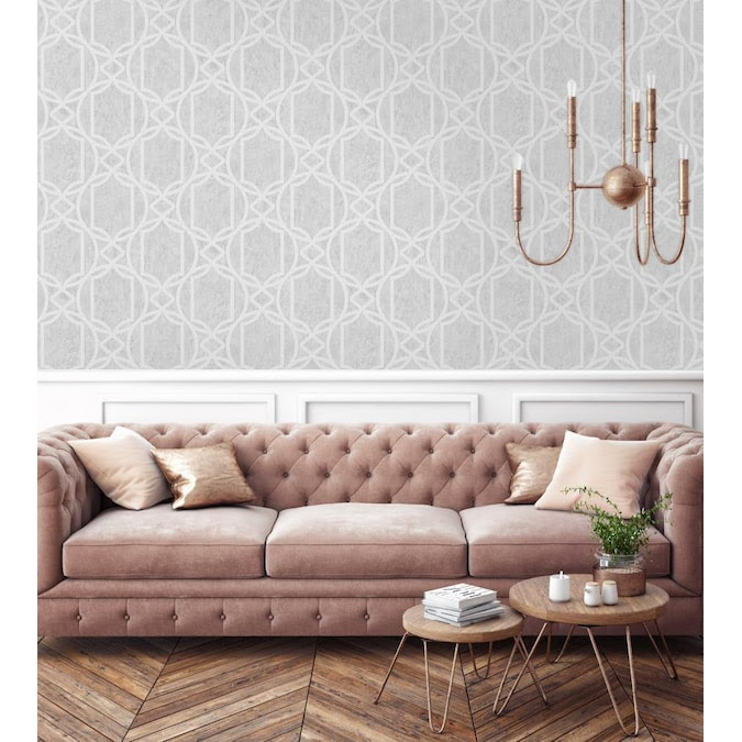 Graham Brown Tranquility 56 Sq Ft Soft Grey Vinyl Textured Geometric Unpasted Paste The Wall Wallpaper In The Wallpaper Department At Lowes Com