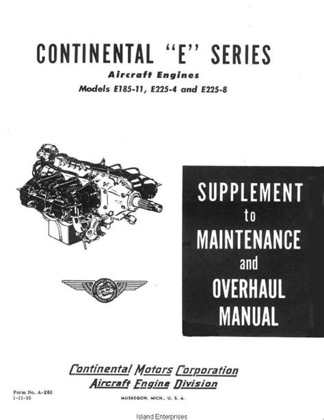 Continental E185-11, E225-4 and E225-8 Aircraft Engines