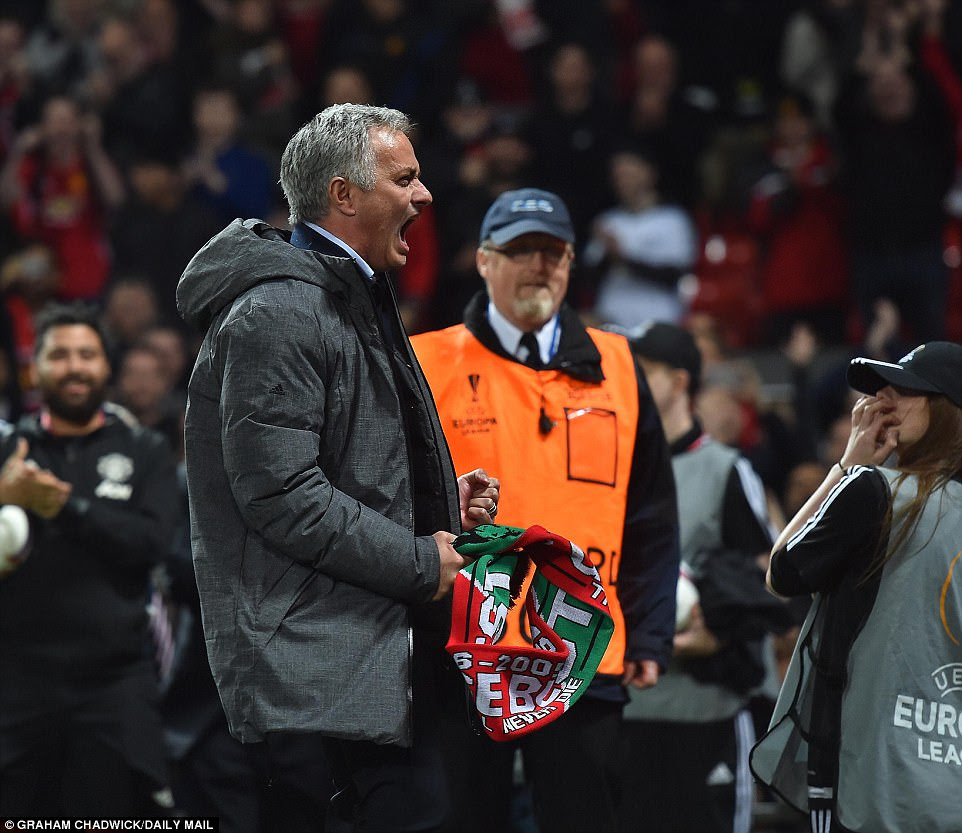 Mourinho roars with delight after the referee's final whistle confirmed his team's place in this year's final