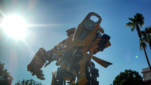 The full-scale Bumblebee prop (from the 2007 TRANSFORMERS movie) on display at Paramount Pictures in Hollywood, on June 30, 2014.