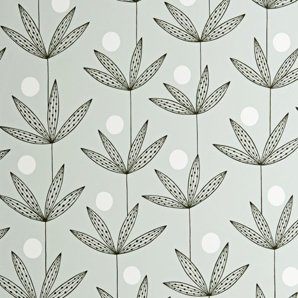 Miss Print Wallpaper Palm Tree Black Grey And White Funkywalls