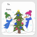 Snowmen Playing in the Snow Square Stickers