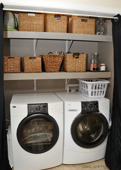 how to update a small laundry closet with shelves and paint