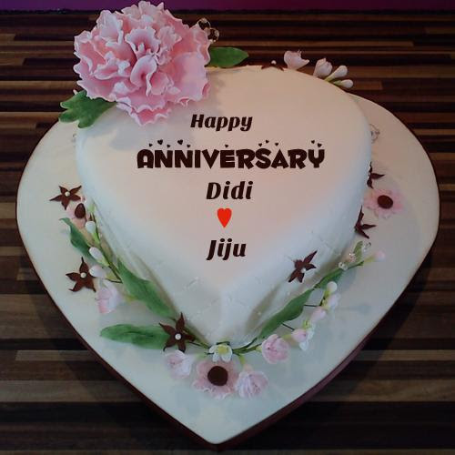 Heart Shaped Happy Anniversary Cake With Couple Name