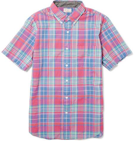 J.CrewShort-Sleeved Madras Cotton Shirt