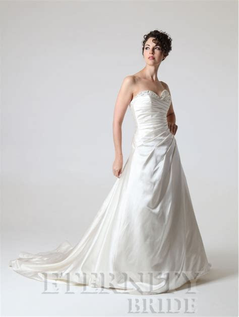 Eternity Bridal D5141 Satin Wedding Dress Beaded Neckline