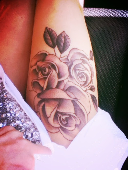 Pink Rose Flowers Tattoos On Right Thigh